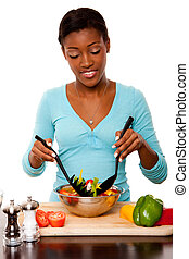 Health Conscious - Tossing Salad - Beautiful health...
