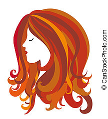 female head w long hair