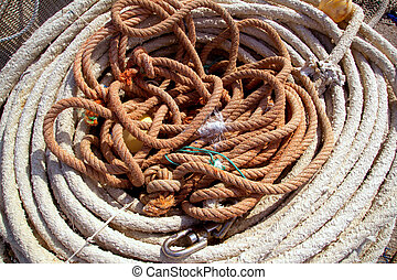 Aged ropes from fishing tackle stuff