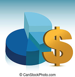 pie chart dollar sign illustration