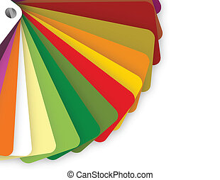 colorful color guide on white background with copy space