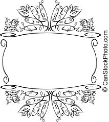 Floral frame with leaves B and W - Floral frame with leaves...