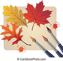 Brushes with autumn colors