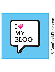I love my blog bubble and heart illustration