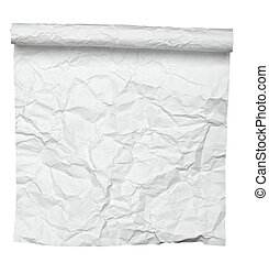 white crumpled curled note paper - close up of a curled...