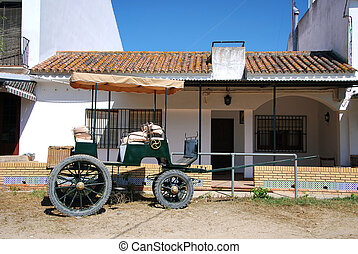 Old chariot - Horse carriage in Andalusia, el Rocio,...