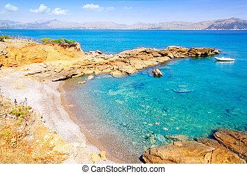 Alcudia in Mallorca la Victoria turquoise beach near s Illot...