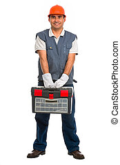 Isolated manual worker - Full length portrait isolated...