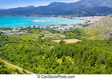 Pollensa Port view of the valley from high mountains in...