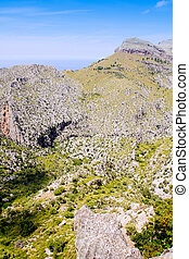 Tramontana mountains in Mallorca with far sea view balearic...