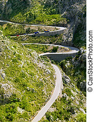 Winding road in mountain near Sacalobra in Mallorca...