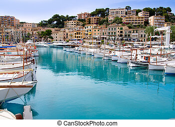 Puerto de Soller Port of Mallorca with lllaut boats in...