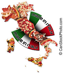 Pizza made in Italy - Italian territory with pizza and...