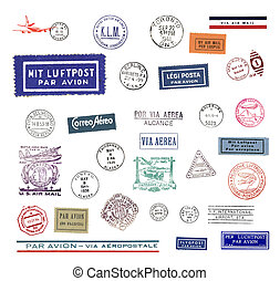 Vintage airmail labels and stamps - Vintage postage stamps...