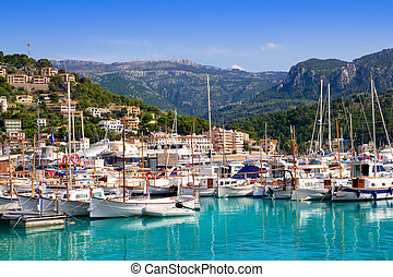 Port de Soller view with tramontana mountain in Mallorca...