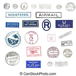 Vintage airmail stamps - Vintage postage stamps and airmail...