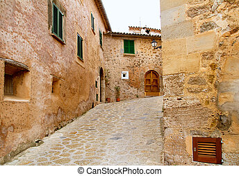 Medieval Valldemosa traditional Majorca village streets from...
