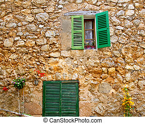Majorca traditional wood windows mallorquina shutters -...