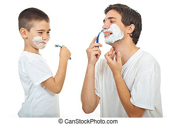 Father teach his son to shave - Father teaching his son to...