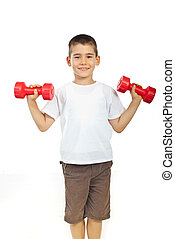 Boy exercising with barbell