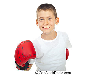 Champion boy with boxing glove - Happy champion by with...