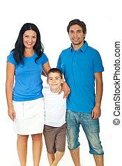 Bonding family - Smiling family bonding and wearing blank...
