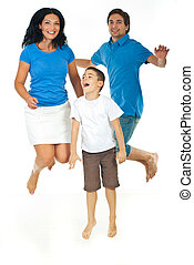Cheerful family jumping together isolated on white...