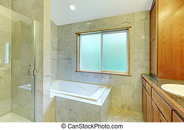 New modern bathroom with titles, tub and cabinet - New...