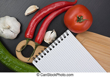 notebook for cooking recipes and vegetables