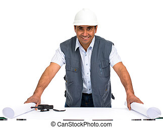 engineer with white helmet and blueprints isolated in clear...