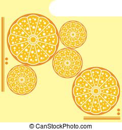 vettore, giallo, agrume, menu, disegno