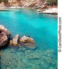 Calvia Cala Fornells turquoise mediterranean in Majorca -...