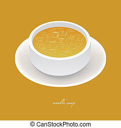 noodle soup in white bowl on the yellow background
