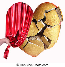 heart - A broken heart with a red curtain