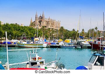 Majorca la Seu cathedral view from marina port of Palma de...