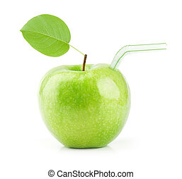 Green Apple juice isolated on white