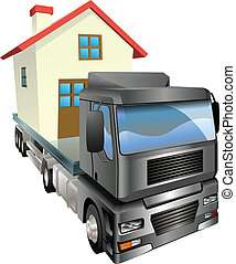 Moving house truck concept - A house or home loaded onto the...