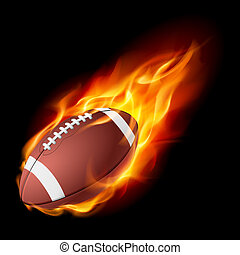 Realistic American football in the fire. Illustration on...