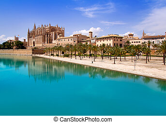 Majorca La seu Cathedral and Almudaina from Palma de...