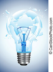 Broken Bulb - illustration of bulb broken into pieces on...