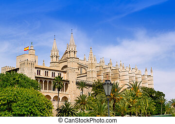 Almudaina and Cathedral of Palma de Mallorca in Majorca...