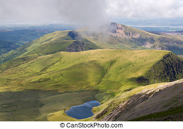 Mountain view from the Snowdon summit, Snowdonia, Wales
