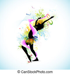 Floral lady - illustration of female dancing on abstract...