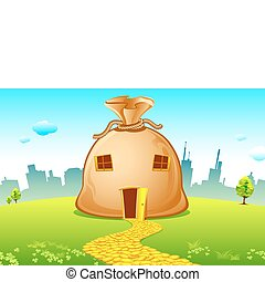 Costly House - illustration of money bag house with road...