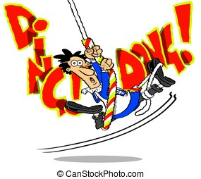 Ding dong.WBG. - Cartoon vicar swinging on bell rope on...