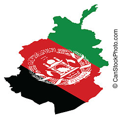 Afghanistan - Isometric map of Afghanistan as national flag
