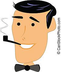 retro man smoking pipe - man from 50's smoking pipe on white
