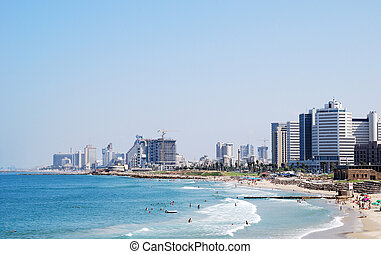 Tel Aviv skyline - Coastline of the Mediterranean Sea, Tel...