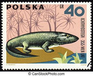 Dinosaur Ichthyostega on post stamp - POLAND - CIRCA 1966:...