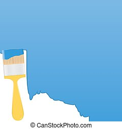 Vector blue background with yellow paintbrush